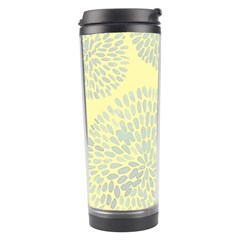Spring Dahlia Print   Pale Yellow & Light Blue Travel Tumbler
