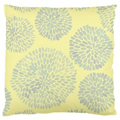 Spring Dahlia Print   Pale Yellow & Light Blue Large Flano Cushion Case (two Sides) by WensdaiAddamns