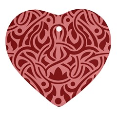 Red Floral Pattern Ornament (heart) by tarastyle