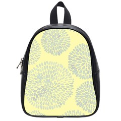 Spring Dahlia Print   Pale Yellow & Light Blue School Bag (small) by WensdaiAddamns