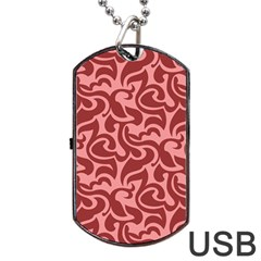 Red Floral Pattern Dog Tag Usb Flash (two Sides) by tarastyle