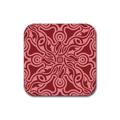 Red Floral Pattern Rubber Square Coaster (4 Pack)  by tarastyle