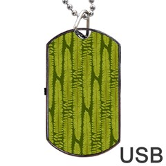 Fern Texture Nature Leaves Dog Tag Usb Flash (one Side) by Jojostore