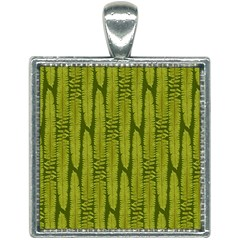 Fern Texture Nature Leaves Square Necklace