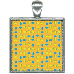 Lemons Ongoing Pattern Texture Square Necklace by Mariart