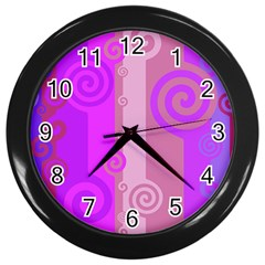 Ring Kringel Background Abstract Purple Wall Clock (black) by AnjaniArt