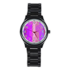 Ring Kringel Background Abstract Purple Stainless Steel Round Watch