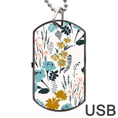 Fancy Floral Pattern Dog Tag Usb Flash (two Sides) by tarastyle
