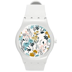 Fancy Floral Pattern Round Plastic Sport Watch (m) by tarastyle