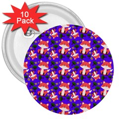 Fox And Trees Pattern Blue 3  Buttons (10 Pack)