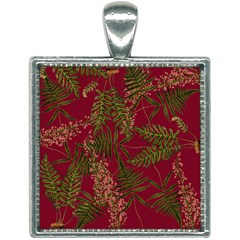 Fern Red Square Necklace by snowwhitegirl