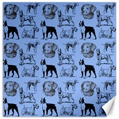 Dog Pattern Blue Canvas 12  X 12  by snowwhitegirl