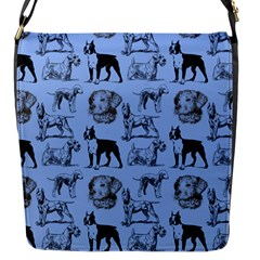 Dog Pattern Blue Flap Closure Messenger Bag (s) by snowwhitegirl