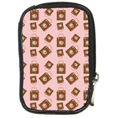 Shopping Bag Pattern Pink Compact Camera Leather Case