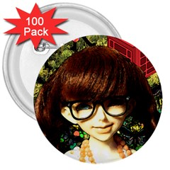 Olivia In The Fields 3  Buttons (100 Pack)