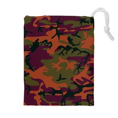 Camouflage Orange Drawstring Pouch (xl) by snowwhitegirl