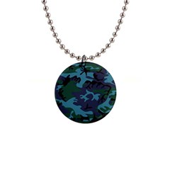Camouflage Blue 1  Button Necklace by snowwhitegirl