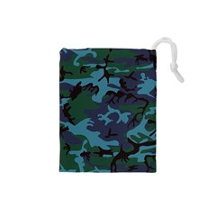 Camouflage Blue Drawstring Pouch (small)