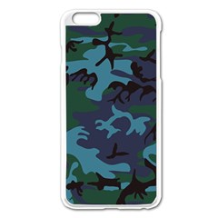Camouflage Blue Iphone 6 Plus/6s Plus Enamel White Case by snowwhitegirl