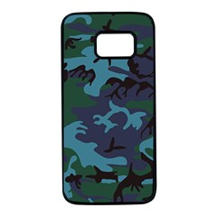 Camouflage Blue Samsung Galaxy S7 Black Seamless Case by snowwhitegirl