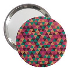 Retro Orange Green Geometric Pattern 3  Handbag Mirrors