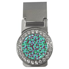 Retro Teal Green Geometric Pattern Money Clips (cz)