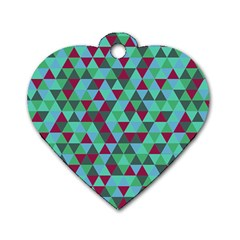 Retro Teal Green Geometric Pattern Dog Tag Heart (one Side)