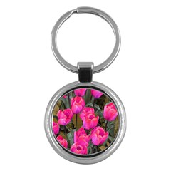 Pink Tulips Key Chains (round)