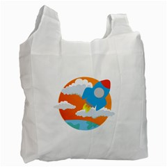 Rocket Rocket Ship Rocket Fire Recycle Bag (one Side) by Pakrebo
