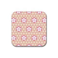 Floral Design Seamless Wallpaper Rubber Coaster (square)