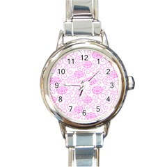 Peony Asia Spring Flowers Natural Round Italian Charm Watch