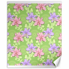 Lily Flowers Green Plant Natural Canvas 16  X 20  by Pakrebo