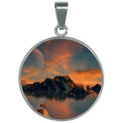 Horizon Sunset Evening Sunrise 30mm Round Necklace