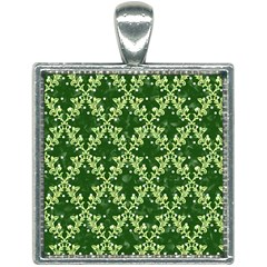 White Flowers Green Damask Square Necklace by Pakrebo