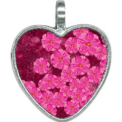 Cherry Blossoms Floral Design Heart Necklace