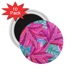 Leaves Tropical Reason Stamping 2 25  Magnets (10 Pack)