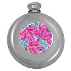 Leaves Tropical Reason Stamping Round Hip Flask (5 Oz)