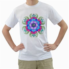 Lotus Flower Bird Metatron s Cube Men s T Shirt (white)  by Pakrebo