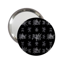 Black And White Ethnic Design Print 2 25  Handbag Mirrors by dflcprintsclothing