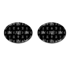 Black And White Ethnic Design Print Cufflinks (oval) by dflcprintsclothing