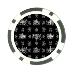 Black And White Ethnic Design Print Poker Chip Card Guard (10 Pack) by dflcprintsclothing