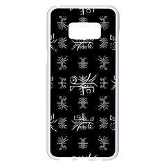Black And White Ethnic Design Print Samsung Galaxy S8 Plus White Seamless Case by dflcprintsclothing