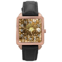 Wonderful Steampunk Design, Awesome Clockwork Rose Gold Leather Watch  by FantasyWorld7