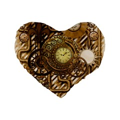 Wonderful Steampunk Design, Awesome Clockwork Standard 16  Premium Flano Heart Shape Cushions by FantasyWorld7