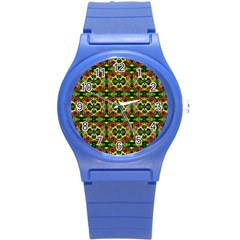 Pattern Red Green Yellow Black Round Plastic Sport Watch (s)