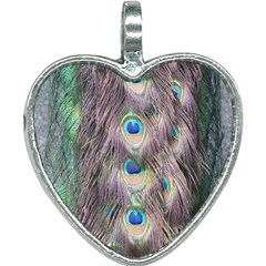 Peacock Bird Pattern Heart Necklace by Pakrebo