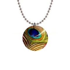 Peacock Feather Colorful Peacock 1  Button Necklace