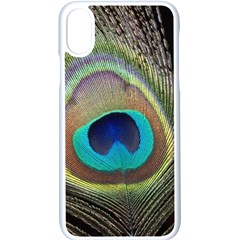 Peacock Feather Close Up Macro Iphone Xs Seamless Case (white)