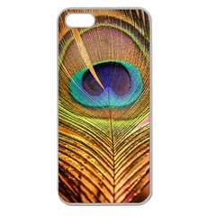 Peacock Feather Bird Colorful Apple Seamless Iphone 5 Case (clear) by Pakrebo