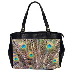 Pen Peacock Wheel Plumage Colorful Oversize Office Handbag (2 Sides)